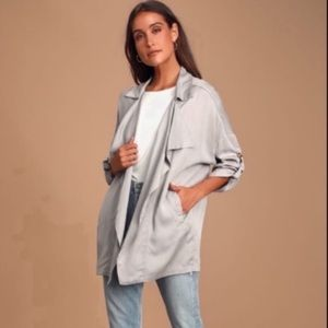 LULU'S Lucky Break Gray Oversized Jacket Size XS